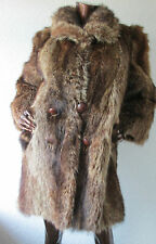 vintage real fur coat jacket red fox lynx look type 3/4 length dense pelt 12/14
