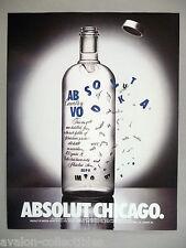 Absolut Vodka - Absolut Chicago PRINT AD - 1994