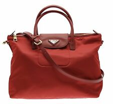 PRADA Tessuto Saffiano Nylon Tote Shopping Shoulder Bag Red BN2541 New