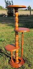 Large 3 Tier Pedestal Table Plant Stand Carved wood Stunning