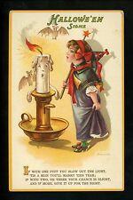 Halloween Postcard International Art 1002-1 Artist Aleinmuller witch bat fantasy