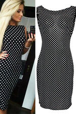 New Sexy Black White Polka Dot Bodycon Midi Dress Open Back Dance Club 60288