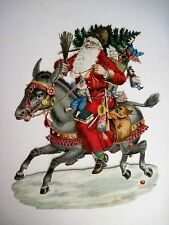 Vintage Victorian Antique Christmas Die-Cut Scrap Of Santa Riding a Donkey *