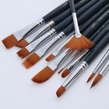 Lot 12x Artist Watercolor Oil Acrylic Paint Nylon Hair Brushes Painting Pen Set