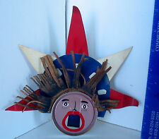 LP16 (H) Fun Vintage Outsider Art Loud Mouth Liberty Tin Sculpture Unsigned