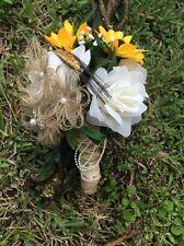 Bridesmaids Toss Wedding Bouquet Burlap  Sun Flowers