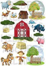 CRÉER VOTRE FERME: autocollants stickers GRAND FORMAT A3 ANIMAUX MUR WALL FARM