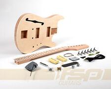 Semi-Hollow Mahogany Body DIY Electric Guitar Kit Project Basswood Veneer