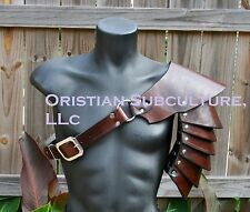 Single Leather Basic Rounded Spaulder Armor Ren SCA articulated pauldron cosplay