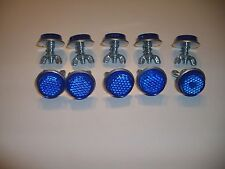 """10 Blue Goliath Tool Mini Bicycle Reflectors 7/8"""" Diameter with Wing nuts"""