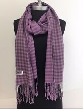 Lady Women Soft Scarf Wrap Shawl Plaid Cozy Checked Pashmina Silk Lavender #301