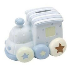Baby Boy's Blue Resin Train Money Box Bank Christening Gifts Baby Gifts petit ch