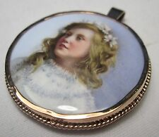 Victorian 8ct Gold Fine Hand Painted Miniature Porcelain Portrait Child Pendant