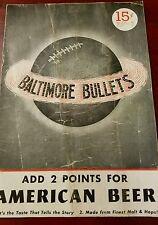RARE 1947 - 1948 BAA BALTIMORE BULLETS - ST. LOUIS BOMBERS BASKETBALL PROGRAM