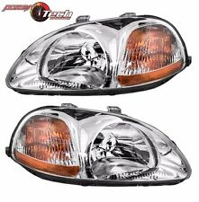 96-98 For Honda Civic Headlights Headlamps Left LH & Right RH Pair Set