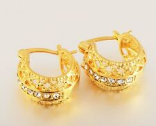 Hoop Huggie Earrings Earings Crystal 18K GP Gold Plated Solid Gorgoues