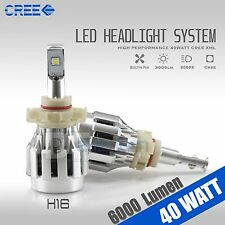 2X H16 40W CREE 6000LM 6000K White High Power Chip LED Fog Light Bulbs Lamps
