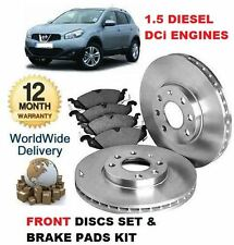 FOR NISSAN QASHQAI 1.5 TD DCi 2006-2014 NEW FRONT BRAKE DISCS SET & DISC PAD KIT