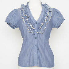 Anthropologie Odille Blue Cotton Blouse w/ Ruffle Lace Collar Size 0