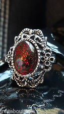 HALLOWEEN Blood Red Goth Vampire Amulet Renaissance Medieval Ring Adjustable