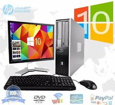 "HP DESKTOP PC COMPUTER WINDOWS 10 CORE 2 DUO 19"" MONITOR 4GB RAM 1TB WIN 10 WiFi"