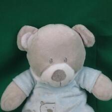 PURCHASED IN FRANCE FRENCH BABY BOY BLUE GREY SOFT TEDDY BEAR CRIB TOY PLUSH