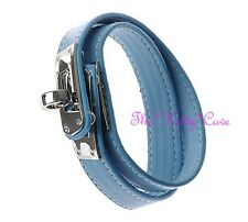 Unusual Slim Blue Leather Wrap Silver Buckle Punk Rock Wristband Bracelet Cuff