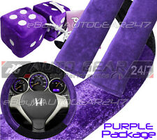 Purple Fabric Car Steering Wheel Cover,Seat Belt Harness Pad, Furry Hanging Dice