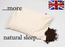 "ORGANIC BUCKWHEAT HUSK  PILLOW 28""x17 DESIGNED & MADE in BRITAIN BLISSFUL SLEEP"