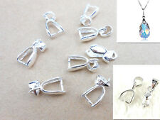 10PC Size M 925 Sterling Silver Findings Bail Connector Bale Pinch Clasp Pendant