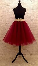 "Dark Red Circular Tulle Skirt 24"" Length Rockabilly Sizes Party Mesh 50s"