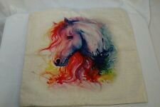 """Colorful painted horse equine western rustic Pillow cover 17"""" x 17"""" home decor"""