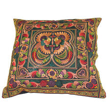 Brilliant Orange Yellow Hmong Embroidered Cushion Cover