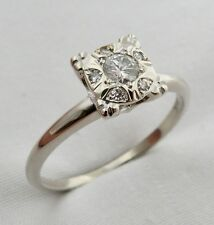 ANTIQUE VINTAGE 14K WHITE GOLD .25 CTW DIAMOND ENGAGEMENT WEDDING RING SZ 8.25