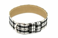 18MM BLACK WHITE LEATHER NYLON PLAID SLIP THRU ONE PIECE WATCH BAND BRACELET
