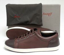 Mens BRIONI Clay Brown Leather Lace-Up Sneakers Tennis Shoes 7 EU 8 1/2 US NIB