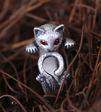 Women's Anti Silver Animal Cat Ring Kitty Adjustable Ring Leopard Ring Jewelry