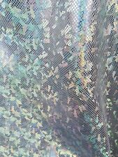 "Silver Broken Glass Hologram 4-Way Stretch Spandex 60"" Wide Fabric By The Yard"