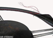 TOP DARK GREY LEATHER STEERING WHEEL COVER FOR TRIUMPH 2000 MK1 63-69 RED STITCH