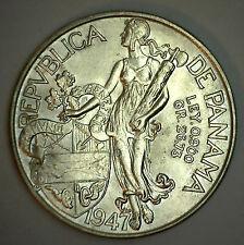 1947 Silver Panama Balboa Dollar Coin Bu