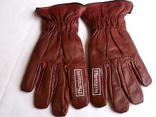 Phantasm Burgundy Leather Motorcycle Chopper Custom Summer Gloves Size S - T