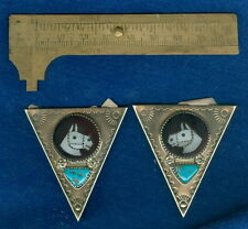 Vintage Native American ZUNI Sterling Silver Horse Head Collar Tips Inlaid Signd