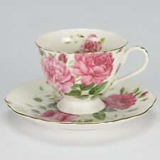 NEW Vintage Tea set cup saucer Rose high tea porcelain chic White pink green
