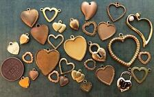 Vintage Brass and Gold Tone Metal Heart Charms Mix 30