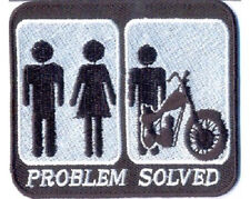 PROBLEM SOLVED MARRIAGE AND MOTORCYCLE EMBROIDERED BIKER PATCH