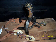 Western Cowboy Silver Copper Lady Leg Spurs with Rawhide Boot Straps