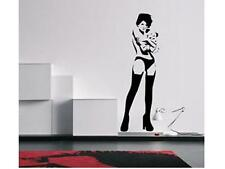 SEXY GIRL WITH TEDDY BANKSY  Vinyl Wall Sticker Art Decal Words Lettering DIY