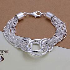 """Sterling Silver Cross Rings Circle Link Men Women Bracelet Chain 8"""" HY299"""