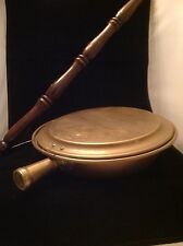 Vintage 19th Century Brass Bedwarmer With  Etched  LID