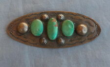 Large Old Handmade Southwestern Indian Copper Green Turquoise Brooch